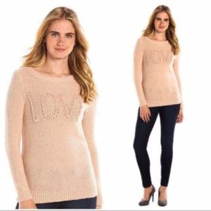 "LC LAUREN CONRAD Sweater Crewneck ""Love"" Pink S"